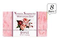 8x Bars Venezia Soapworks Pure Vegetable Soap Rose Triple Refined 7 Oz Each