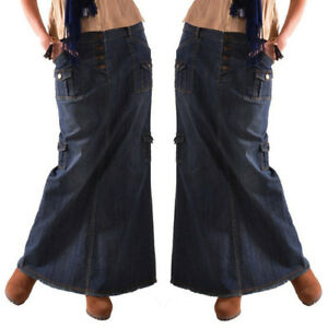 Women-Girl-Casual-Long-Mid-Waist-Button-Pockets-Front-Straight-Denim-Maxi-Skirts