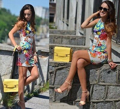 Fashion Sexy Women Mini Vest Dress Round Neck Sleeveless Flower Printing Retro