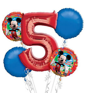 Image Is Loading Mickey Mouse 5th Birthday Balloon Bouquet 5 Foil
