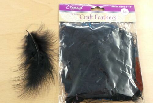 "Black Marabou Feathers Craft Decorations Mixed Sizes 3/"" 8/""  8 gram Pack"
