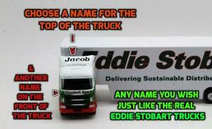 PERSONALISED-NAMES-28cm-Eddie-Stobart-Box-Trailer-Lorry-Model-Present-Boxed-Toy