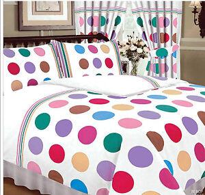 Be-bop-blanc-vibrant-multicolore-polka-dot-spots-double-parure-de-lit-ensemble-de-lit