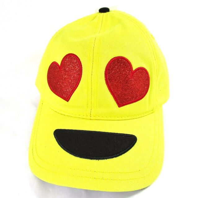 bec9f31259b7e Emoji Heart Eyes Ball Cap Hat Yellow Smiley Snapback Trucker Glitter  Novelty NEW