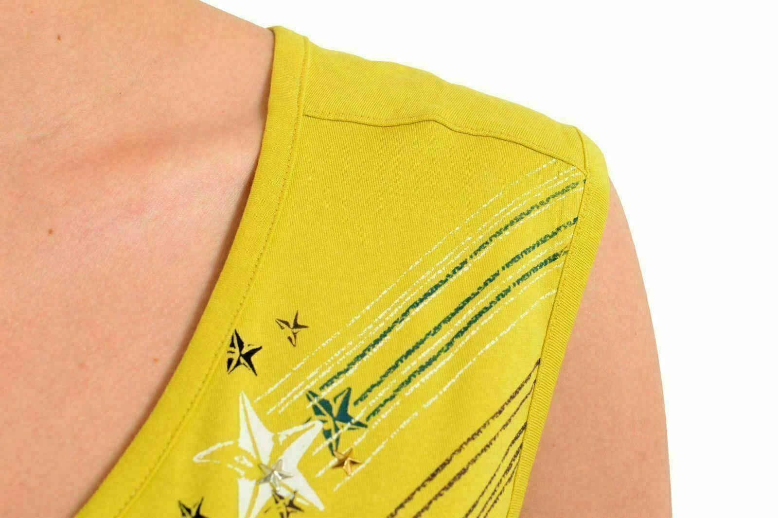 Just Cavalli Donna Giallo Decorato Canottiera senza Maniche USA S S S It 40 a99381