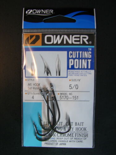 Owner Cutting Point size 5//0 Aki  Hook Salt Water Special Black Chrome 5170-151