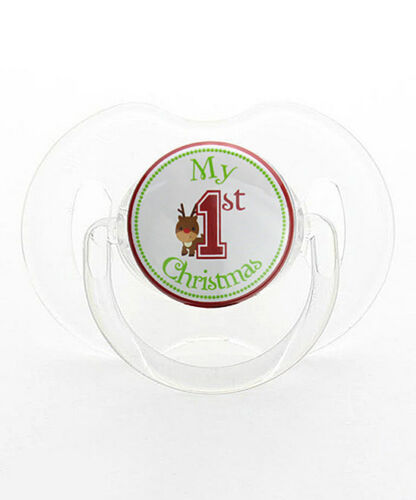 Red /& Green /'My First Christmas/' Reindeer Baby Pacifier