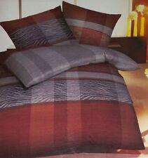 Kaeppel Biber Bettwäsche Set 155 x 220 cm rot/grau gestreift 416596