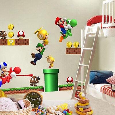 Super Mario Bros Kids Removable Wall Sticker Decals Nursery Home Decor Vinyl WS