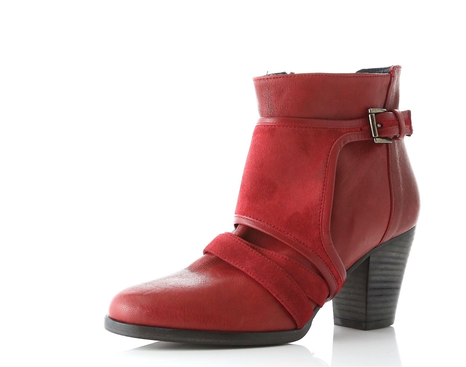 Plomo Oliviera Red Leather Ankle Booties Booties Ankle Made in Spain Size 36 NEW! 1a84e8
