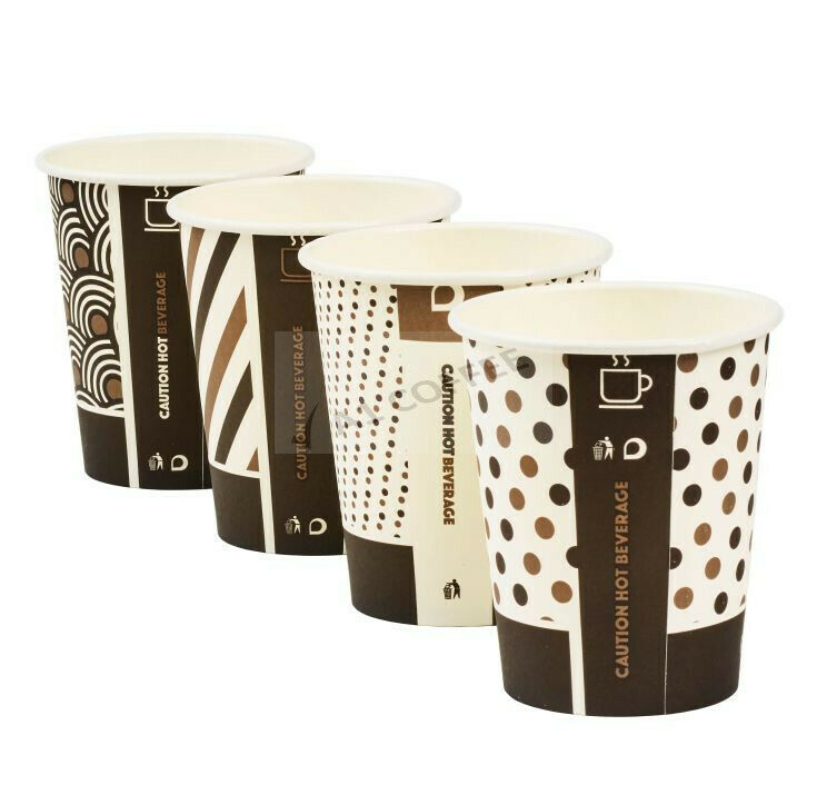 1000 x 8oz Mixed Design Single Wall Bamboo Cups Biodegradable Compostable Drinks
