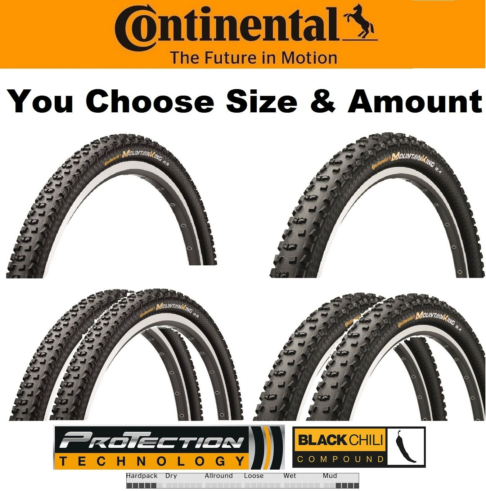 1or 2PAK Continental MountainKing II ProTection Fold 29 x 2.2  2.4  Bike TR Tire