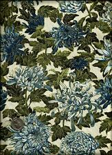 """Oriental Traditions"" Floral Print gold inlay blue green on cream Fabric-Kaufman"
