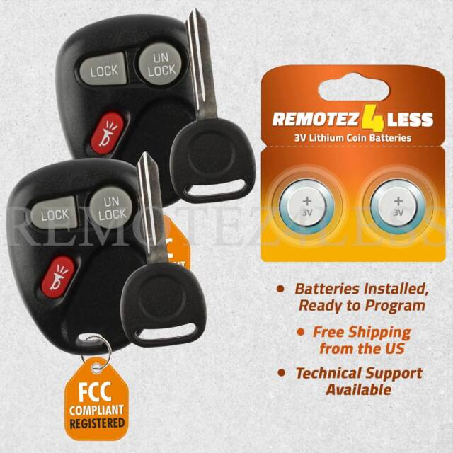 2 For 1999 2000 2001 Chevrolet Silverado 1500 2500 3500 Keyless Entry Remote Key