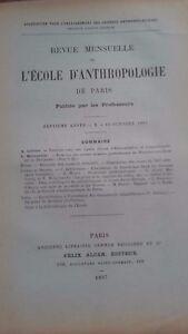 Rivista SCUOLA Antropologia 7 Eme Anni 1897 F.Alcan N° X ABE