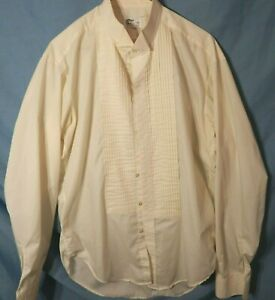 Men/'s Ivory Tuxedo Shirt Wing Collar Pleated Front Off-White Bone Formal TUXXMAN