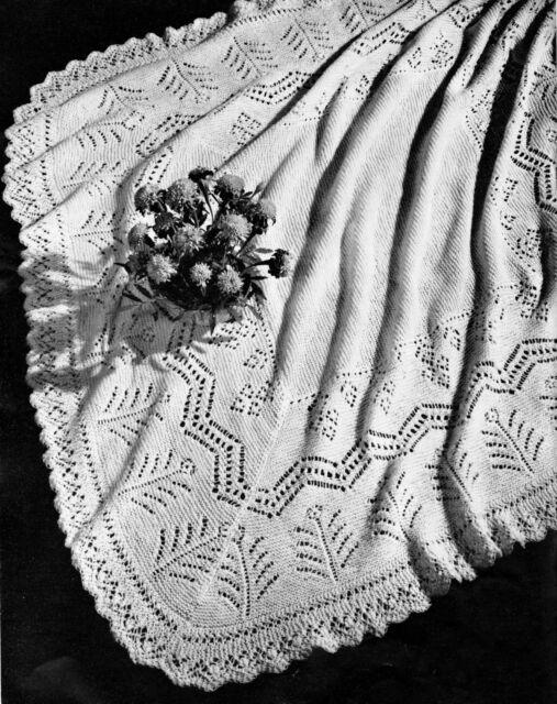"Vintage Marigold Pattern Baby  Shawl 46"" x 46"" ~ 3 Ply Knitting Pattern"