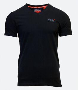 Nuevo-para-hombre-de-Superdry-Orange-Label-Vintage-de-Bordado-Cuello-en-V-T-Shirt-Negro