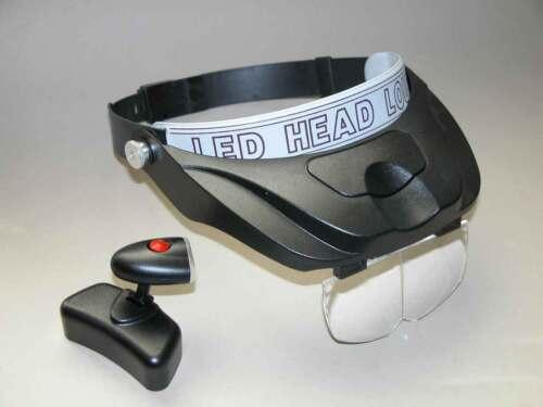 RoNa PROFI Kopfbandlupe mit LED und 4 Vergrößerungen