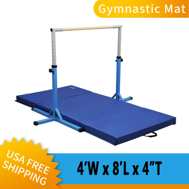 Heavy Duty Folding Mat Gym Gymnastics Fitness Exercise Workout With Training Bar