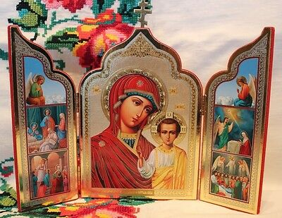 ORTHODOX Triptych ICON The Life of Our Lady Theotokos St Arсhangels Church Cross