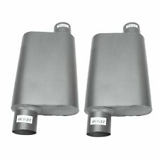 Pair Of Chambered Performance Race Offset 3 Inlet 3 Outlet Mufflers Weld On