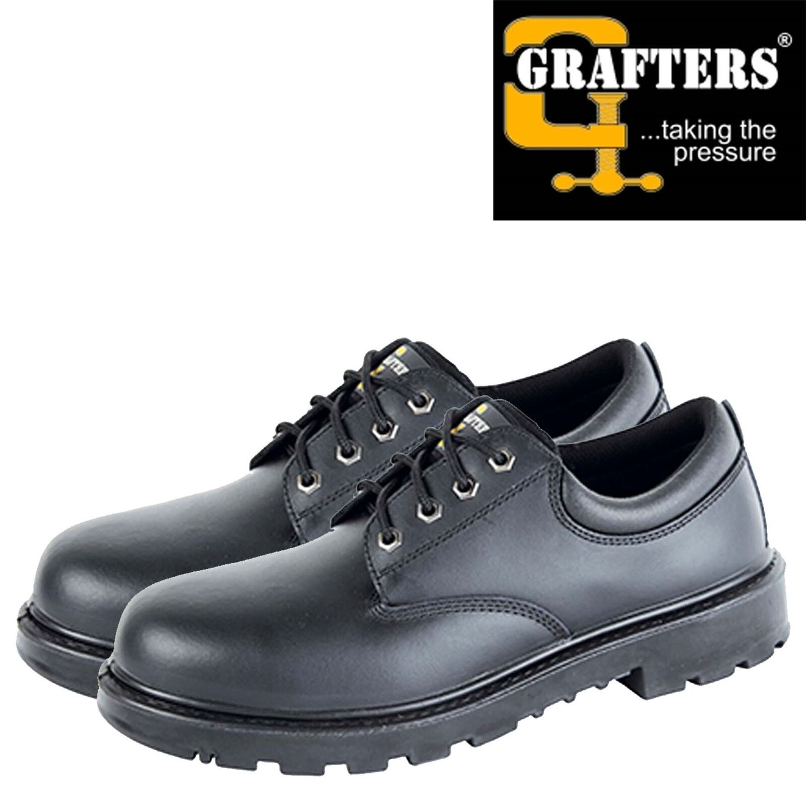 Grafters Mens Safety shoes Steel Toe Cap Work Trainer Black