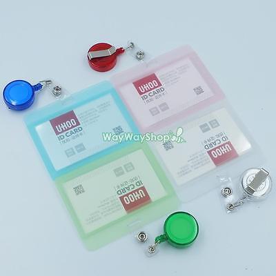 Strap Lanyard Reel Retractable Vertical o Horizontal Hard ID Card Holder Badge