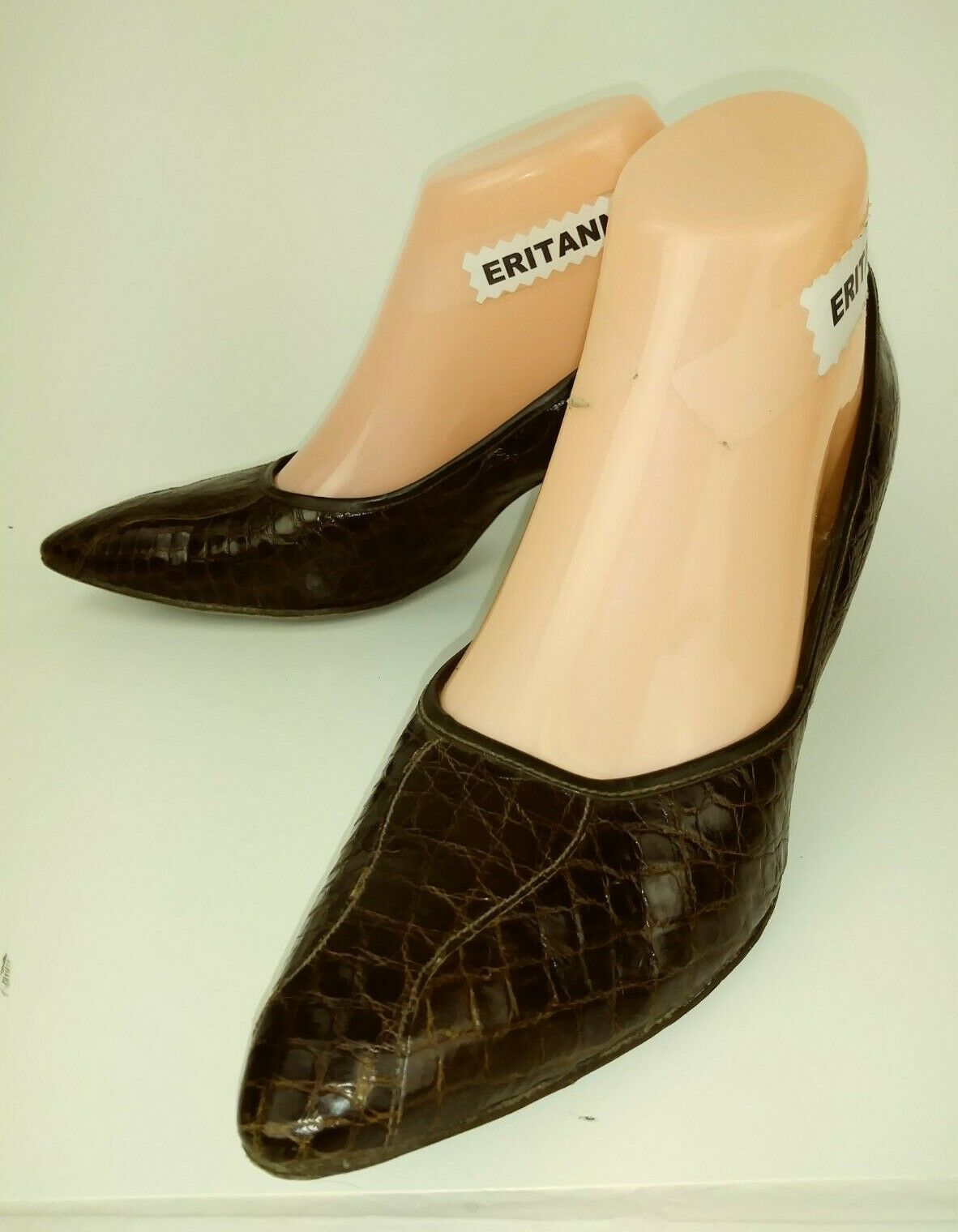 Karlee de Harmon Vintage Pinup Wos shoes Heels 7.5B Brown Alligator Leather 4537