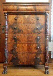 Details about Antique Mahogany Empire Bedroom Dresser Chest of Drawers  Acanthus Carved ca 1840