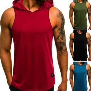 Gym-Men-Vest-Bodybuilding-Hooded-Tank-Top-Muscle-Clothing-Stringer-Hat-T-Shirt