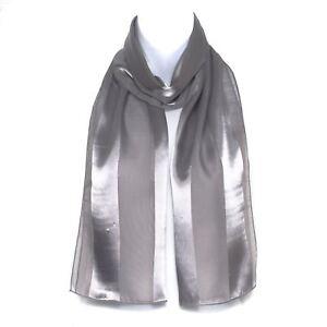 Chiffon Satin Plain Striped Elegant Ladies Scarf Light Grey