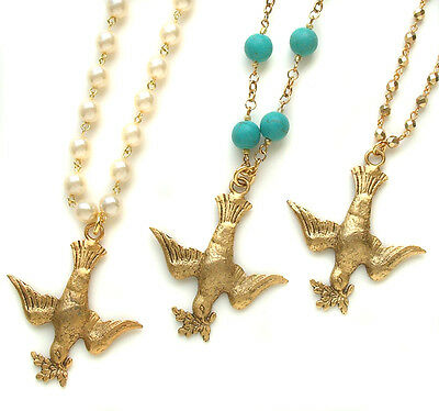 John Wind Necklace Peace Dove Gold Pearls Turquoise London Maximal Art Jewelry
