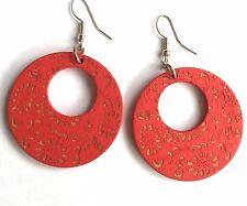 Boho Hippy Gypsy 70s Style Open Hoop Red Floral Wood Fashion Earrings