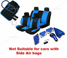 18PC BLUE/BLACK BUTTERFLY STYLE FULL CAR SEAT COVER SET + FLOOR MATS &TUNING KIT