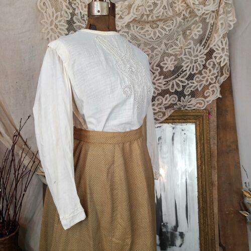 Antique Edwardian Victorian Tan White Linen 1800s… - image 1