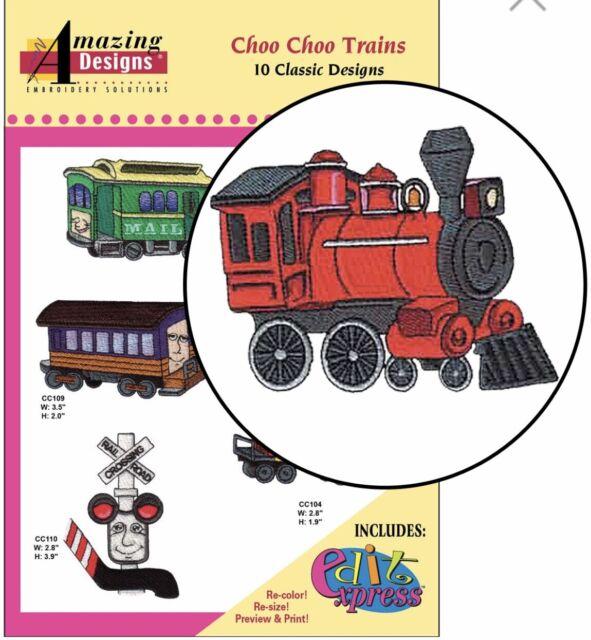 Amazing Designs Choo Choo Trains 10 Classic Designs ADC-66 Brand New Sealed.