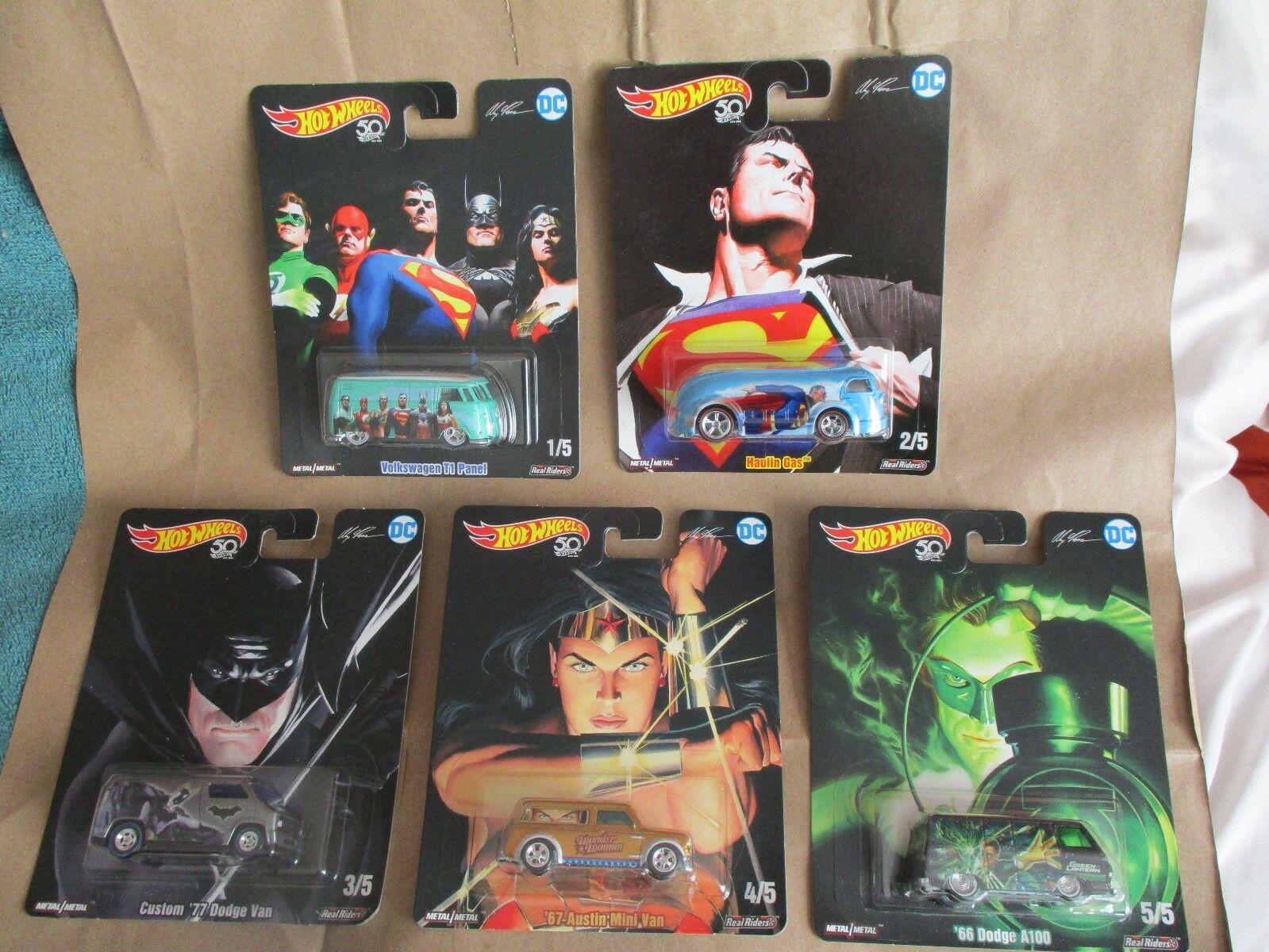 Hot Wheels 2018 Alex Ross DC Heroes 5 Cars Real Riders Superman Batman