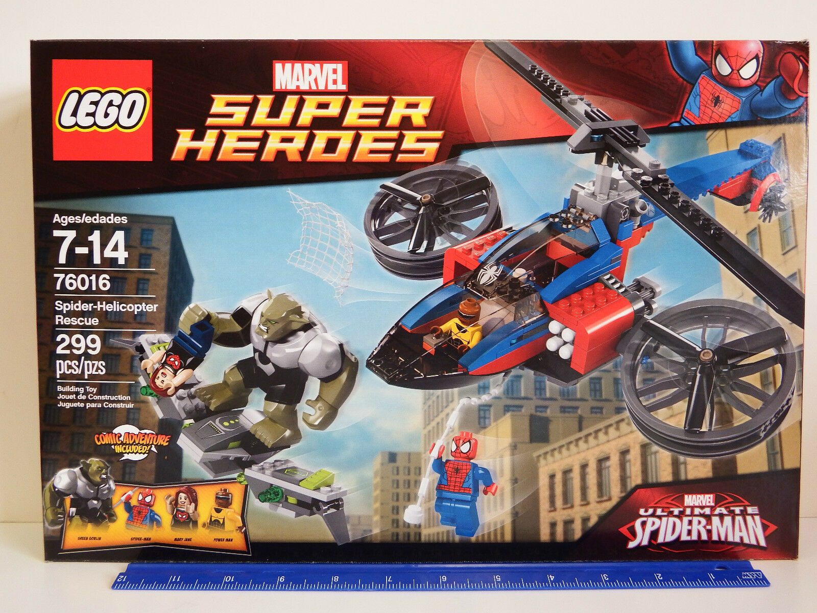 LEGO MARVEL Super Heroes 76016 Spider-Helicopter Rescue 299 pc set Age 7-14Y