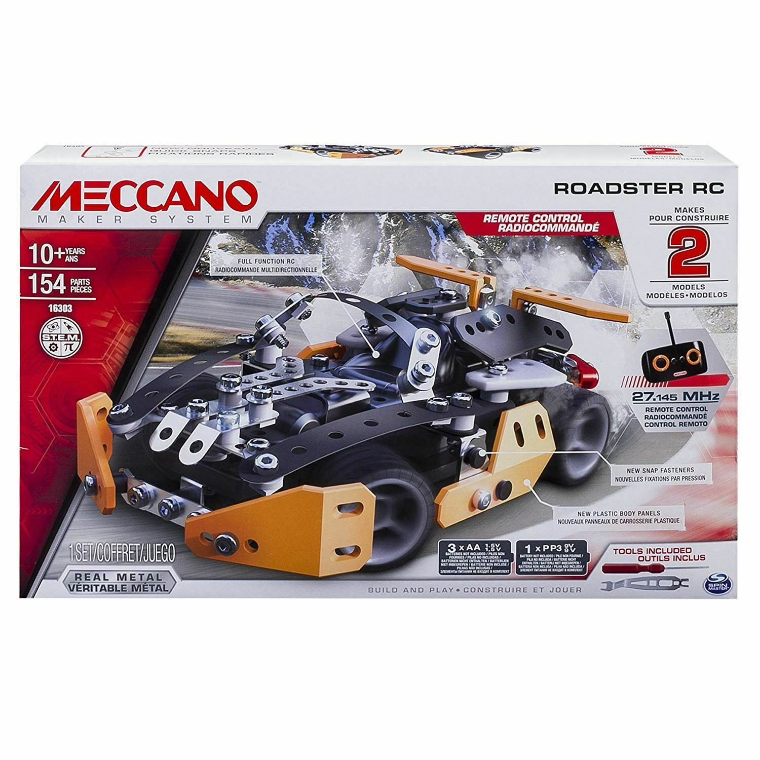 Meccano Sports Roadster RC 2 in 1 1 1 Model Set 150 Pieces d86ae5