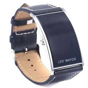 LED-Digital-Date-Watch-Leather-Strap-Stainless-Steel-Lady-Men-Wristwatch