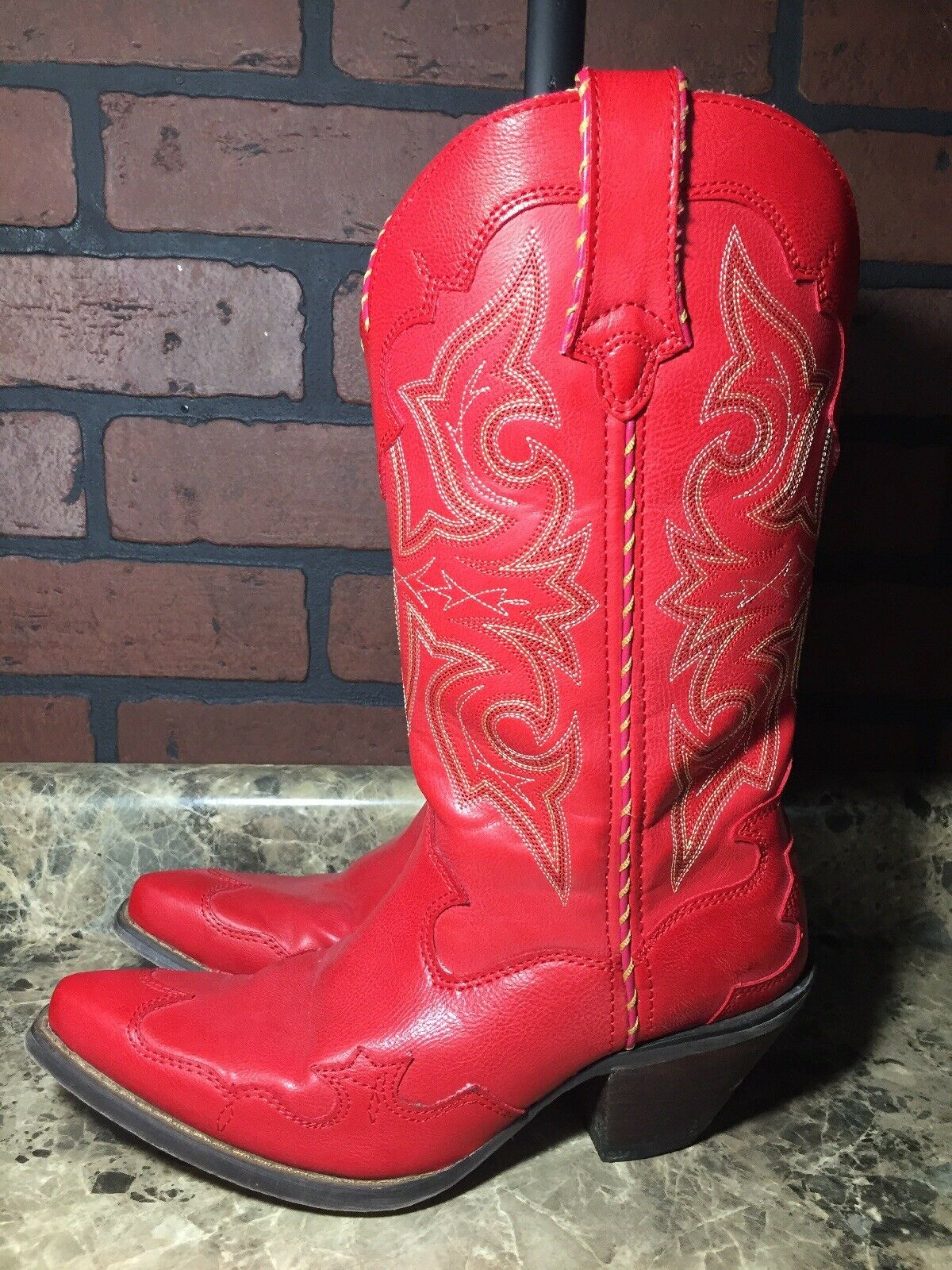 Durango pour Femme en Cuir Bottes Cowboy Rouge Taille 6.5 excellent état utilisé sexy