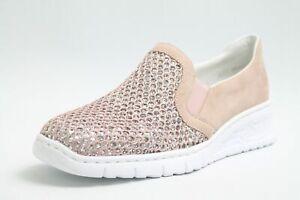 Details zu Rieker Schuhe rosa Kunstleder Diamont Style Lederfußbett Slipper Damen