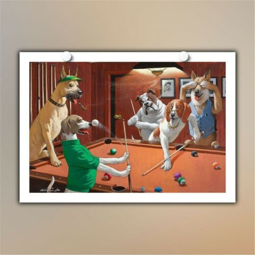 Not Framed Canvas Print painting Home Decor Wall art Dogs Playing Pool II