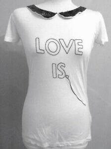 Womens-ZARA-T-Shirt-Top-Sequin-Bronze-Love-Is-Peter-Pan-Collar-S-M-New-17-99