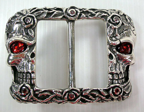 DESIGNER SKULL AND ROSES TATTOO GARNET 925 STERLING SILVER MENS BELT BUCKLE NEW