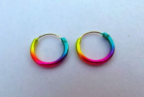 Pair Of Sterling Silver 925  Anodised Colour  Hoop Earrings 10 mm  ! New !!