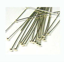 100x 26 gauge Sterling Silver Flat Head pins Headpin solid 925 silver wire F02