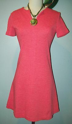 Vintage Pink Coral RETRO Mod mini Go-Go dress Housewife Office Small S 60's 70's