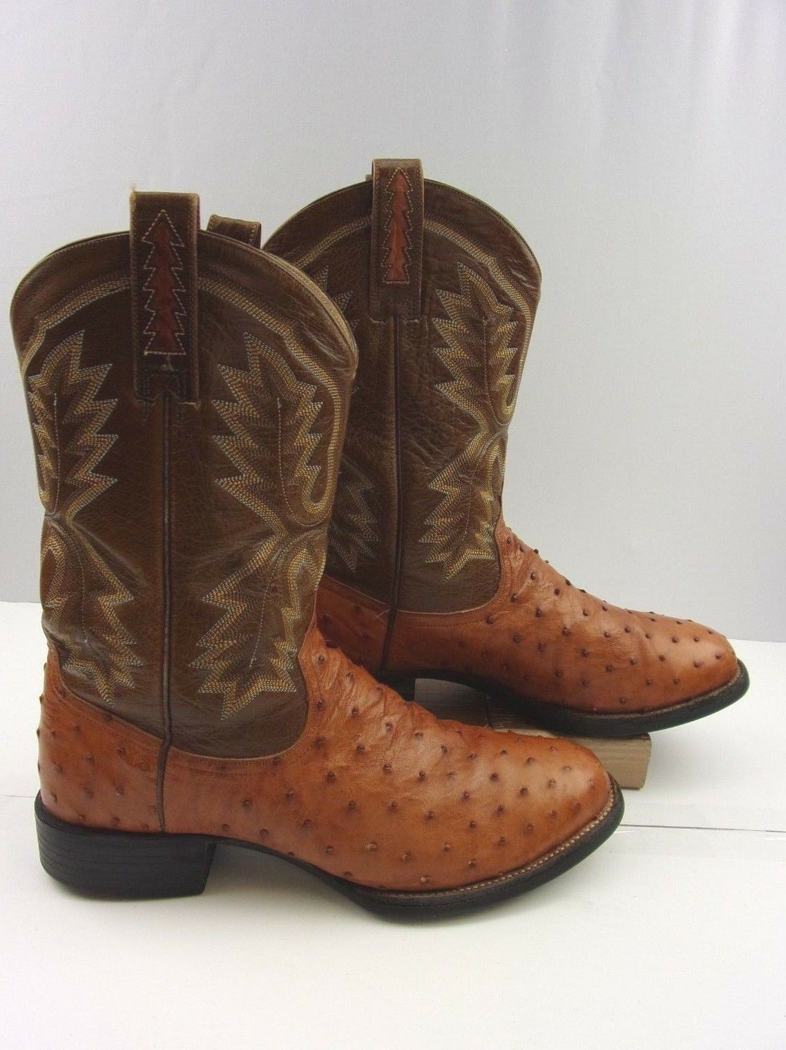 Men's Ariat Brown Full Quill Ostrich Leather Cowboy Western Boots Size: 11 W